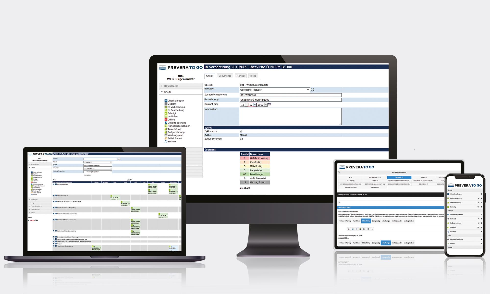 Software für Begehungen und Checks, Desktop und Mobil